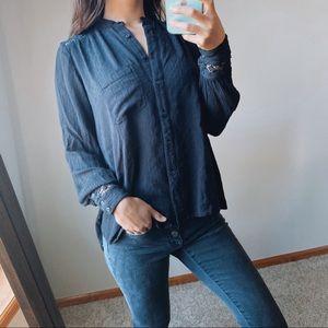 Free People black crochet blouse XS